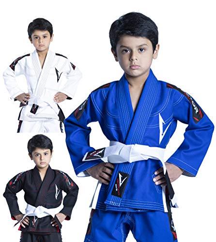 Vector Deportes 100% algodón Pearl Weave Kids Brazillian Jiu Jitsu BJJ Gi Attila Serie Kimono Ligero Tejido Preencogido, XL, Azul