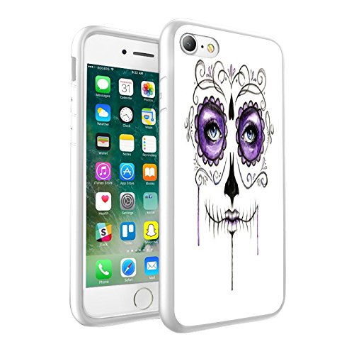 iPhone 5c Sweet Skull with Flowers design Case, Premium Lightweight Cover Skin, Unique Custom Cool Design Protective Hard back Slim Thin Fit PC Bumper Case Scratch-Resistant Cover for iPhone 5c - Sweet Skull with Flowers Cool Art 0004 (Case Iphone Bling 5c-skull)