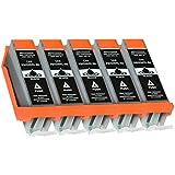 5 Druckerpatronen kompatibel für Canon PGI-550 mit Chip