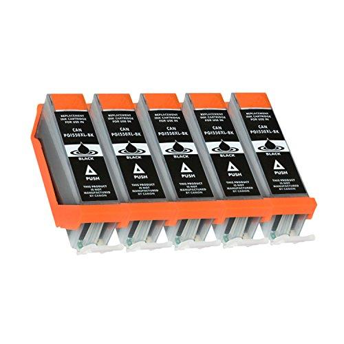 5 Tintenpatronen für Canon Pixma MG5650 MG6650 MG5550 MG6450 MG7550 MG7150 iX6850 iP7250 MX925 - PGI-550 PGBK