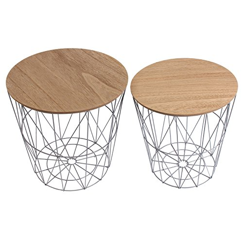 THE HOME DECO FACTORY hd3832 mesas filaires X2 Madera