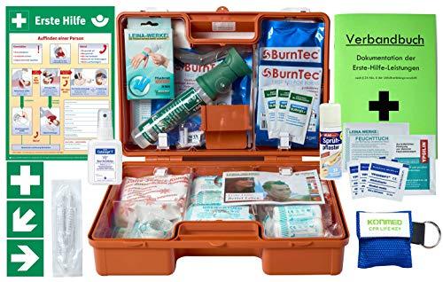 Preisvergleich Produktbild Erste-Hilfe-Koffer GASTRO M5+ Komplettpaket für Betriebe DIN/EN 13157 inkl. Augenspülung + Brandgel + detektierbare Pflaster + Hydrogelverbände + Aushang &Aufkleber