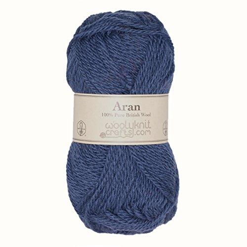 Pack von 10, 50g Bälle von woolyknit Aran (500g) | 100% Britische Hand stricken Wolle Garn, Wolle, denim, 500 g -