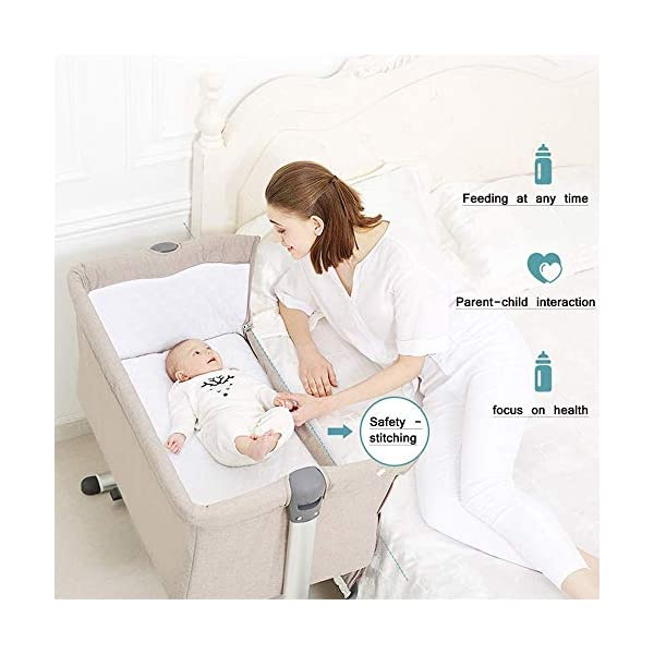 LYYJIAJU Bed Side Crib for Baby - Sleeper Includes Mattress, Sheet, and Urine Pad ,Adjustable Height 4 Files Side with a Snap-on Tension Band (Color : Brown) LYYJIAJU Co-sleeping crib that promotes side-sleeping and allows you to sleep close to your child. Can be used as a normal crib as baby grows.Outer diameter 93CM / inner diameter 85CM. Suitable from birth to 6 months/9 kg or until baby can pull themselves into an upright position. 4