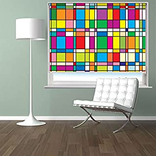 Mondrian style Abstract Art Pattern Printed Picture Photo Roller Blind - Custom Made Printed Window Blind