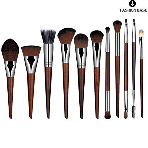 Fashion Base® Professional Top Bois fait à la main Pinceaux de maquillage Fond de teint Fard à joues Poudre Correcteur sourcils Eyeliner Blush Brosse kit