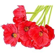 Flor artificial amapola 10 unds color rojo