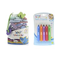Bath Foam Alphabet Letters & Bath Crayons Set Includes 65 Lowercase Letters In Handy Net Storage Bag & 5 Colourful Skin Safe Bath Crayons Educational & Fun!