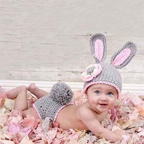 Grey rabbit, neonato baby girl/boy crochet knit costume foto prop fotografia cappelli outfits
