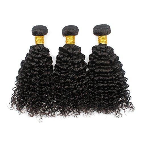 Romantic Angels® 100% afro crépus extensions de cheveux bouclés, Remy cheveux humains tissage grade 5A, 3 bundles lot (12''12''12'') Naturel Noir#1b