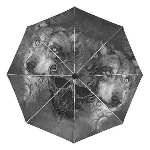 Baihuishop Tête de mort Loup coupe-vent parapluies automatique Open Close 3pliable solide et résistant de golf Parapluie de voyage compact protection UV légère portable facile à transporter et antidérapant Poignée