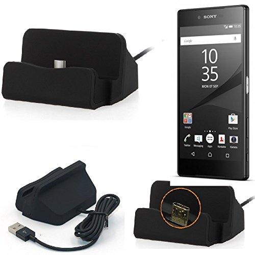 K-S-Trade Base de carga para Sony Xperia Z5 Premium Micro USB cargador suporto estación de acomplamiento mesa, negro
