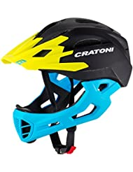Cratoni C-Maniac Casco de bicicleta Casco integrales y BMX Freeride, Negro-Azul-Amarillo (S-M (52-56 cm))