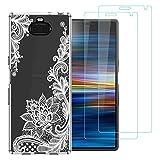 """Coque Sony Xperia 10,Totem Blanc Souple Transparent Silicone TPU Antichoc Housse Étui de Protection pour Sony Xperia 10 (6,0"""") avec Deux Verre trempé écran Protecteur"""