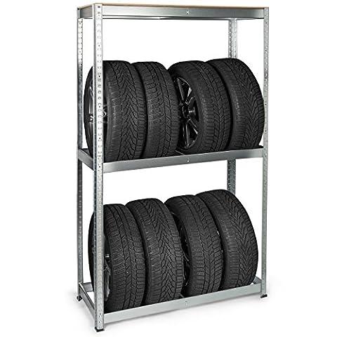 Krollmann Reifenregal für 8 Reifen grau, Werkstattregal aus Stahl 100 x 40 x 165 cm Regal für Reifen