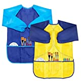 #6: CIEHER 2 Pack Kids Art Apron, Waterproof Children Art Smock For Kids Artist Painting Long Sleeve For Ages 2-6, 2 Multi Colors