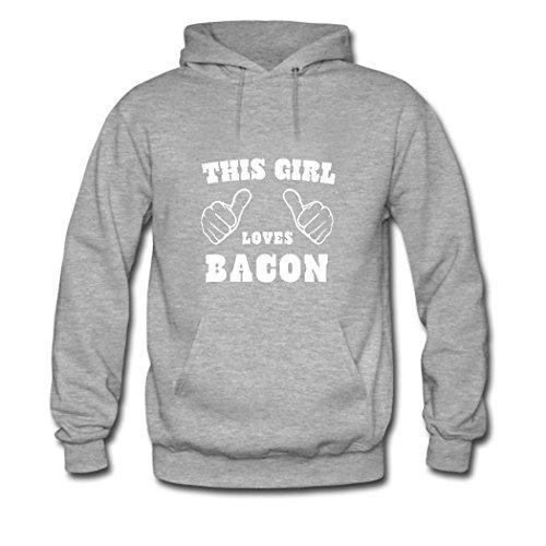 HGLee Printed Personalized Custom This Girl Loves Bacon Classic Women Hoodie Hooded Sweatshirt Gray--1