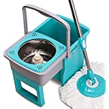BJM Easy Wring and Clean Microfibre Mop/Bucket with Power Spin Wringer