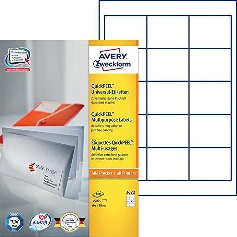 Avery Zweckform 3672 Universal-Etiketten (A4, Papier matt, 1,500 Etiketten, 64 x 50 mm) 100 Blatt weiß
