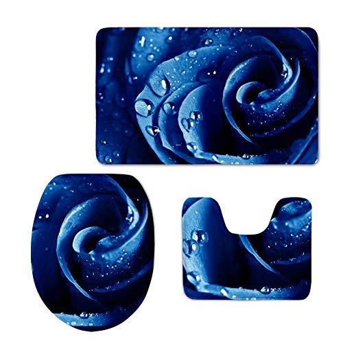 DX 3-teiliges Badvorleger-Set Badvorleger-Teppich + Toilettendeckel + Badvorleger Bunter Blumendruck (Farbe: Color4)