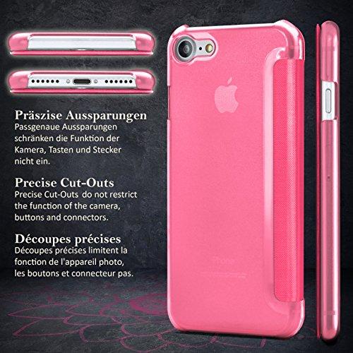 iPhone 6S Hülle Pink mit Sicht-Fenster [OneFlow Focus Cover] Ultra-Slim Schutzhülle Dünn Handyhülle für iPhone 6/6S Case Flip Handy-Tasche Klapp-Hülle LOTUS