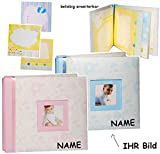 alles-meine.de GmbH Schraubalbum / Einsteckalbum / Fotoalbum -  Baby - mit Foto ! - Mädchen - pink  - incl. Name - mit 3-D Einsteckkarten / Scrapbooking - groß - Gebunden zum E..