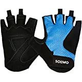 Amazon Brand – Solimo Gym Gloves (Large), Black/Blue