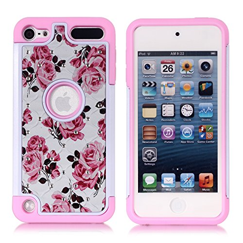 Apple iPod Touch 6. Fall, iPod 5. Generation Case, Heavy Duty stoßfest Nieten Strass Crystal Bling Hybrid Case Silikon Schutz Armor für Apple IPod Touch 56. Generation, rote Rose