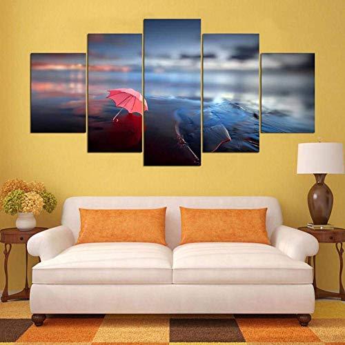 MWPO Pinturas Pared 5 Paneles Pintura Impresa Paraguas