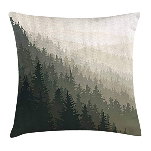 Forest Throw Pillow Cushion Cover, Northern Parts of The World with Coniferous Trees Scandinavian Woodland, Decorative Square Accent Pillow Case, 18 X 18 inches, Cream Tan Dark Green