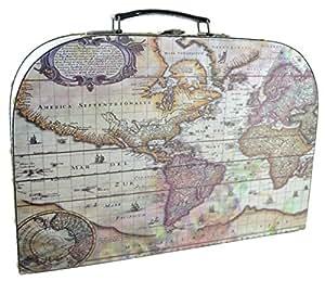 Carte du monde Voyage Étui/Boîte de rangement avec poignée en cuir–37cm x 25cm x 13cm