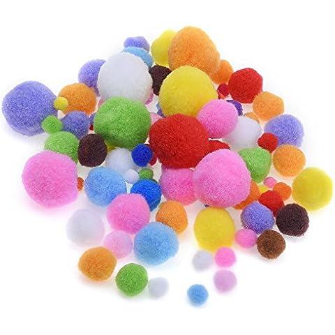 Blulu Pom Poms de Colores Pompones para Manualidad y Suministro de Gustos, 200 Piezas