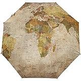 Paraguas automáticos Vintage Mapamundi Africano Antideslizante Paraguas de Lluvia Compacto a...