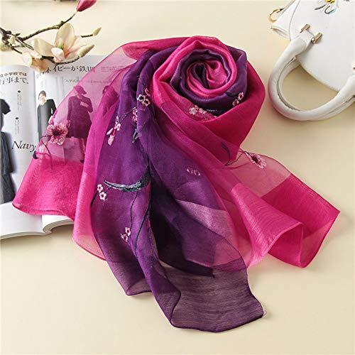 Stil Wolle Schal (Xingling Farbverlauf Damen Seide Wolle bestickte schal Mode Elegante schal, wickelschal Stil geschenkbox 190 * 80 cm (10 Farben),BLCE-10)