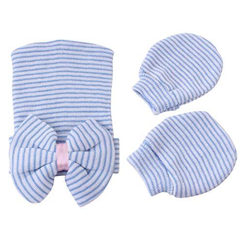Tianhaik Neugeborenes Baby-Mädchen-Säuglingskappen-Bowknot-Beanie-Hut + Handschuhe für 0-6Months (Baby Boy Beanie Krankenhaus)