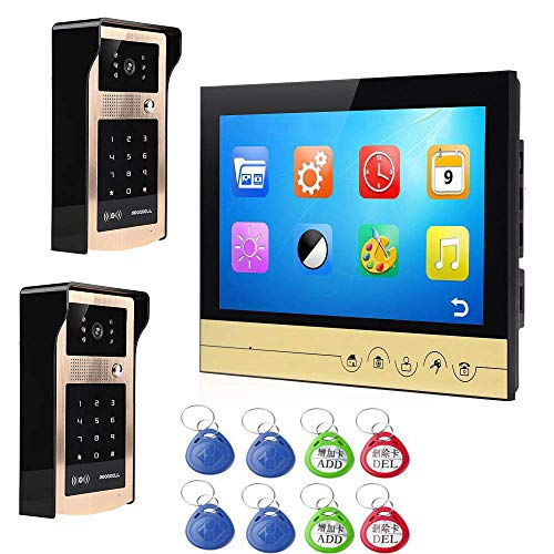 YUYUKUAILAI 9 Zoll Smart Video Türklingel Remote Intercom Zugangskontrollsystem HD 1000TVL Infrarot-Kamera,2 -