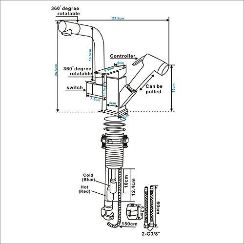Homelody – Küchenarmatur mit 2 Brauseköpfen, Schwarz - 6