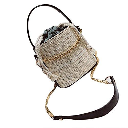 Frauen Sommer Kette Stroh Eimer Strand Handbag Woven Crossbody Top-Griff Tasche Schultertasche Farbe 4 (Stripe Top Pom)