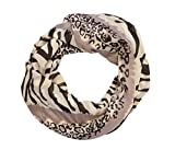 MANUMAR Loop-Schal für Damen | Hals-Tuch in Beige Lila mit Animal Print Motiv als perfektes Herbst Winter Accessoire | Schlauchschal | Damen-Schal | Rundschal | Geschenkidee für Frauen und Mädchen