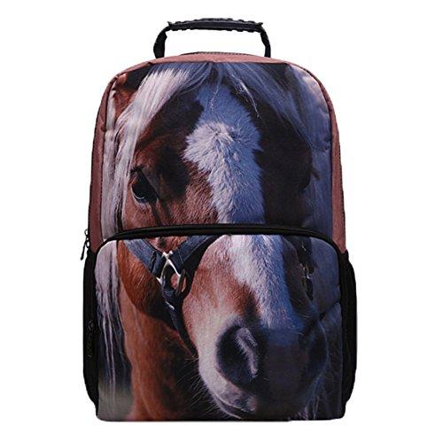 Ohmais 3D Tier Rücksack Rucksäcke Backpack Daypack Schulranzen Schulrucksack Wanderrucksack Schultasche Rucksack für Schülerin Pferd