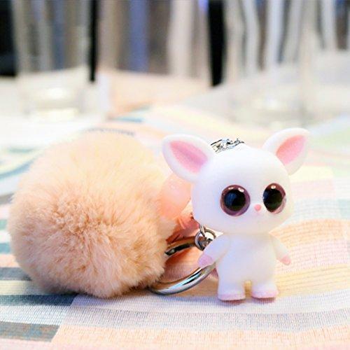 CJH Flocking Doll Ball Anhänger Mädchen Herz Pinguin Auto Schlüsselanhänger Cute Bag Anhänger (Color : Pink)