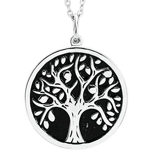 Bishilin Schmuck Edelstahl Halskette für Damen Baum des Lebens Rund Anhänger Kette Silber (Hund Kostüm Kegel)