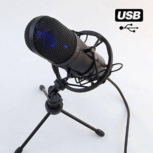 MCU-01 USB Großmembran Studio Kondensator Mikrofon für Home Recording und für Studio-Aufnahmen inkl. Spinne, Stativ, Kapsel Niere, Rap, Podcast, Plug&Play