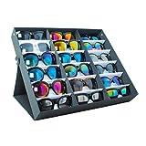 Buyi-World Vitrina para Gafas de Sol de 18 Piezas Caja de Almacenamiento Organizador de la Vivienda Gafas para Puertas 47.5 × 37.5 × 6cm, Joyero Negro para el hogar y la Tienda