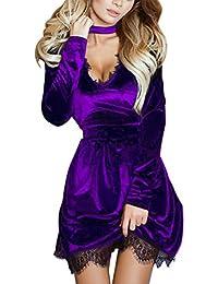 Flying Rabbit Abendkleider Damen Partykleid V-Ausschnitt Kleider Slim Fit Samt Spitze Mit Choker