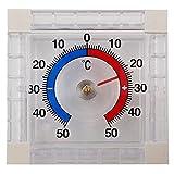 PROHEIM Fenster Thermometer Quadratisch aus Kunststoff Außenthermometer in Weiß zur Befestigung an der Fensterscheibe