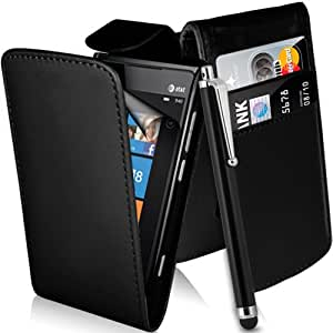 Supergets® Nokia Lumia 900 Top Flip Magnetic Closure PU Leather Case Cover Includes Screen Protector, Polishing Cloth and Touch Screen Stylus (Black)