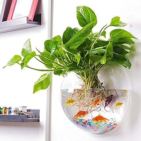Uotyle Hängende Wand Montiert Fisch Schüssel Aquaponic Tank Aquarien Pflanzen Fisch Blase- Klar(Durchmesser 7.6 inch)