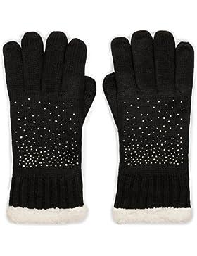styleBREAKER guantes cálidos con estrás y tejido polar, guantes de punto de invierno, señora 09010010
