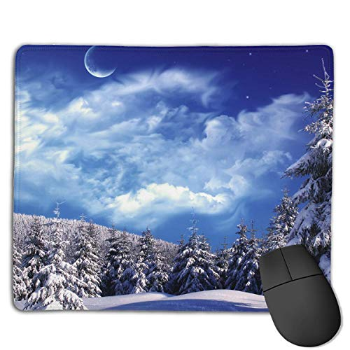 ASKSSD Mouse Pad Winter Wonderland Beautiful Scenery Rectangle Rubber Mousepad 8.66 X 7.09 Inch Gaming Mouse Pad with Black Lock Edge